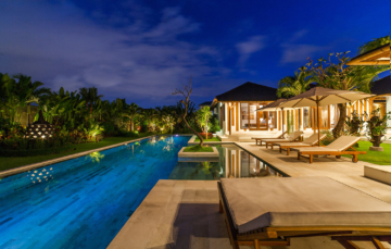 Swimming pool and garden by night